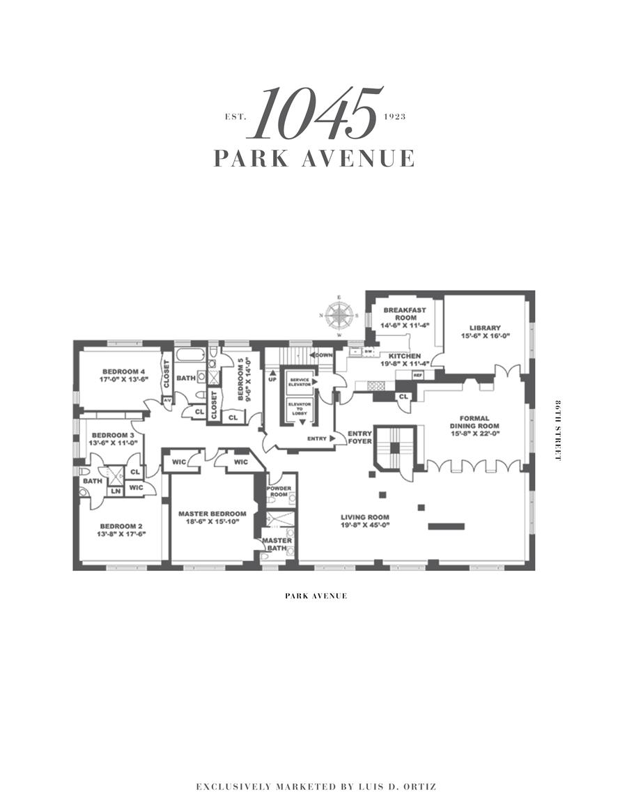 Floor plan of 1045 Park Avenue, 15AB - Carnegie Hill, New York