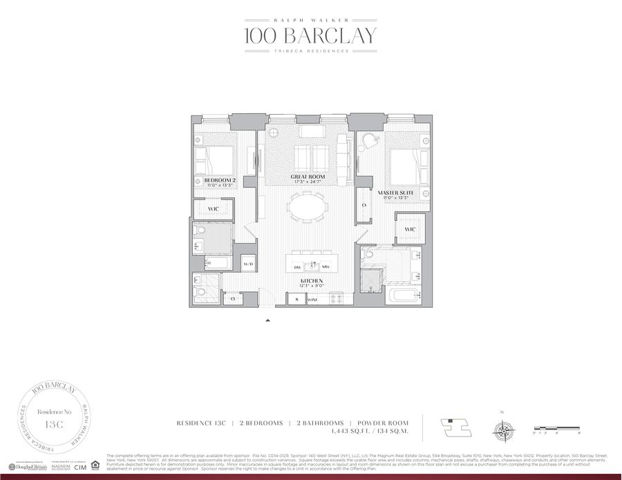 Floor plan of Ralph Walker Tribeca, 100 Barclay Street, 13C - TriBeCa, New York