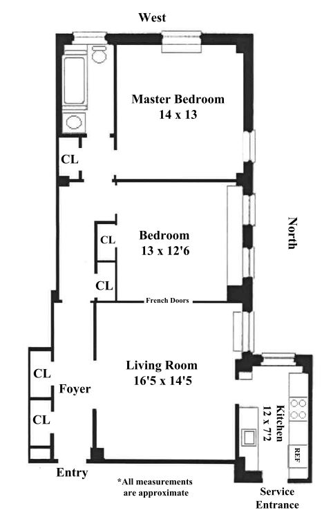Floor plan of 176 West 87th Street, 3E - Upper West Side, New York