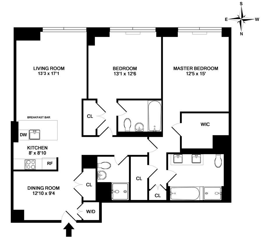 Floor plan of The Rushmore, 80 Riverside Boulevard, 7P - Upper West Side, New York