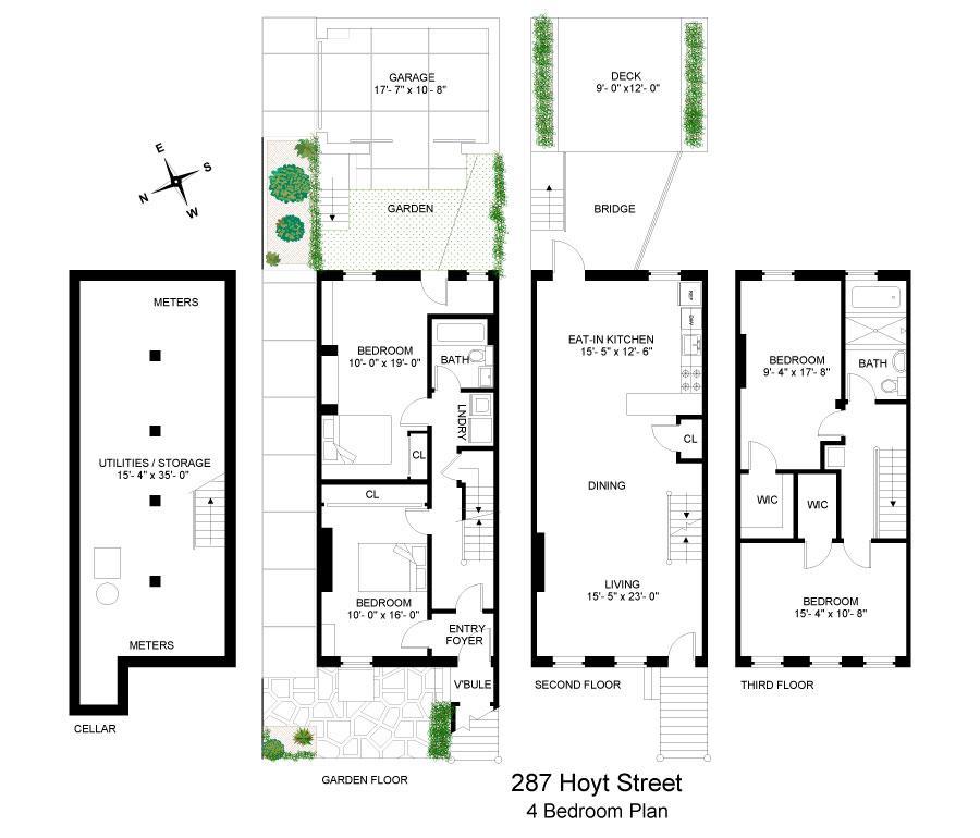 Floor plan of 287 Hoyt Street - Carroll Gardens, New York