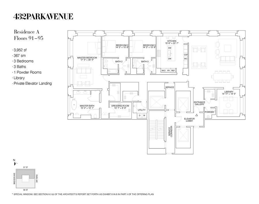 Floor plan of 432 Park Avenue, PH91A - Midtown, New York
