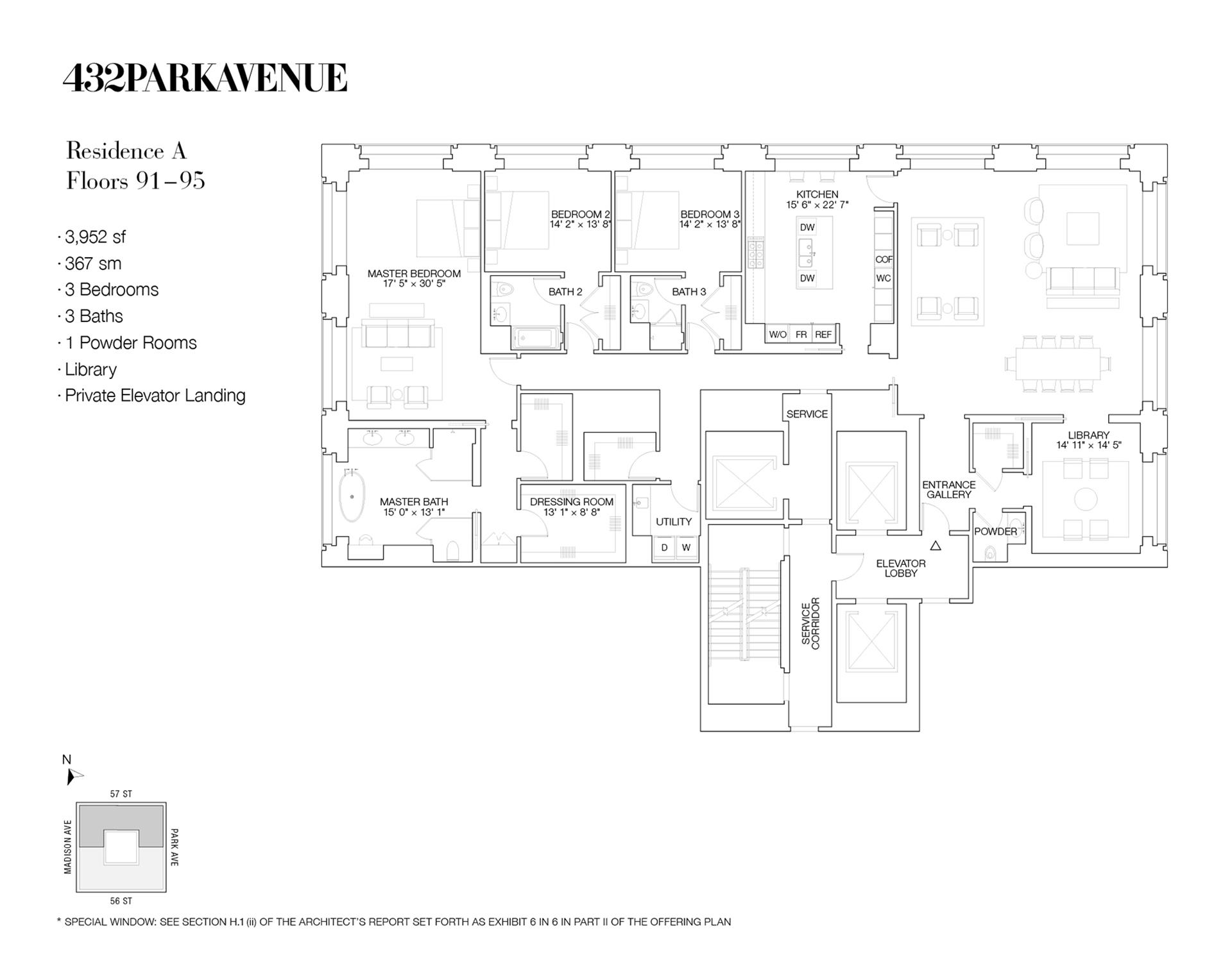 Floor plan of 432 Park Avenue, PH91A - Midtown, New York