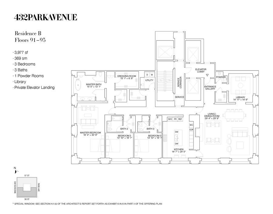 Floor plan of 432 Park Avenue, PH91B - Midtown, New York
