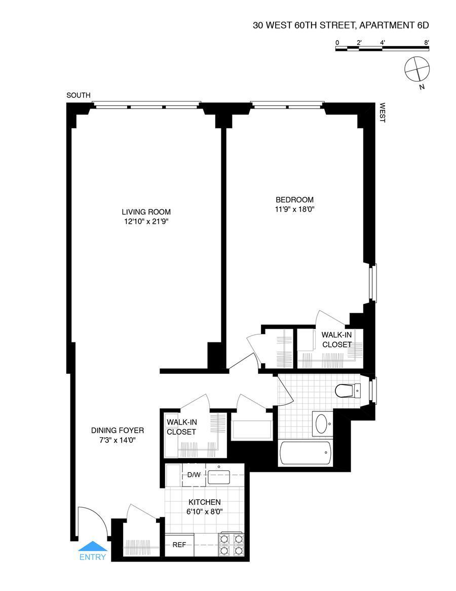 Floor plan of 30 West 60th Street, 6D - Upper West Side, New York