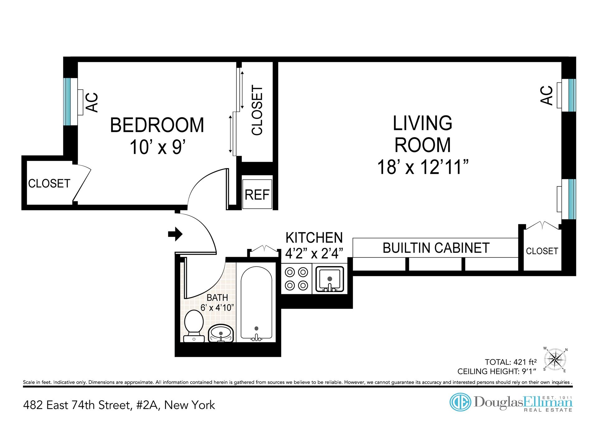 Floor plan of 482 East 74th St, 2A - Upper East Side, New York