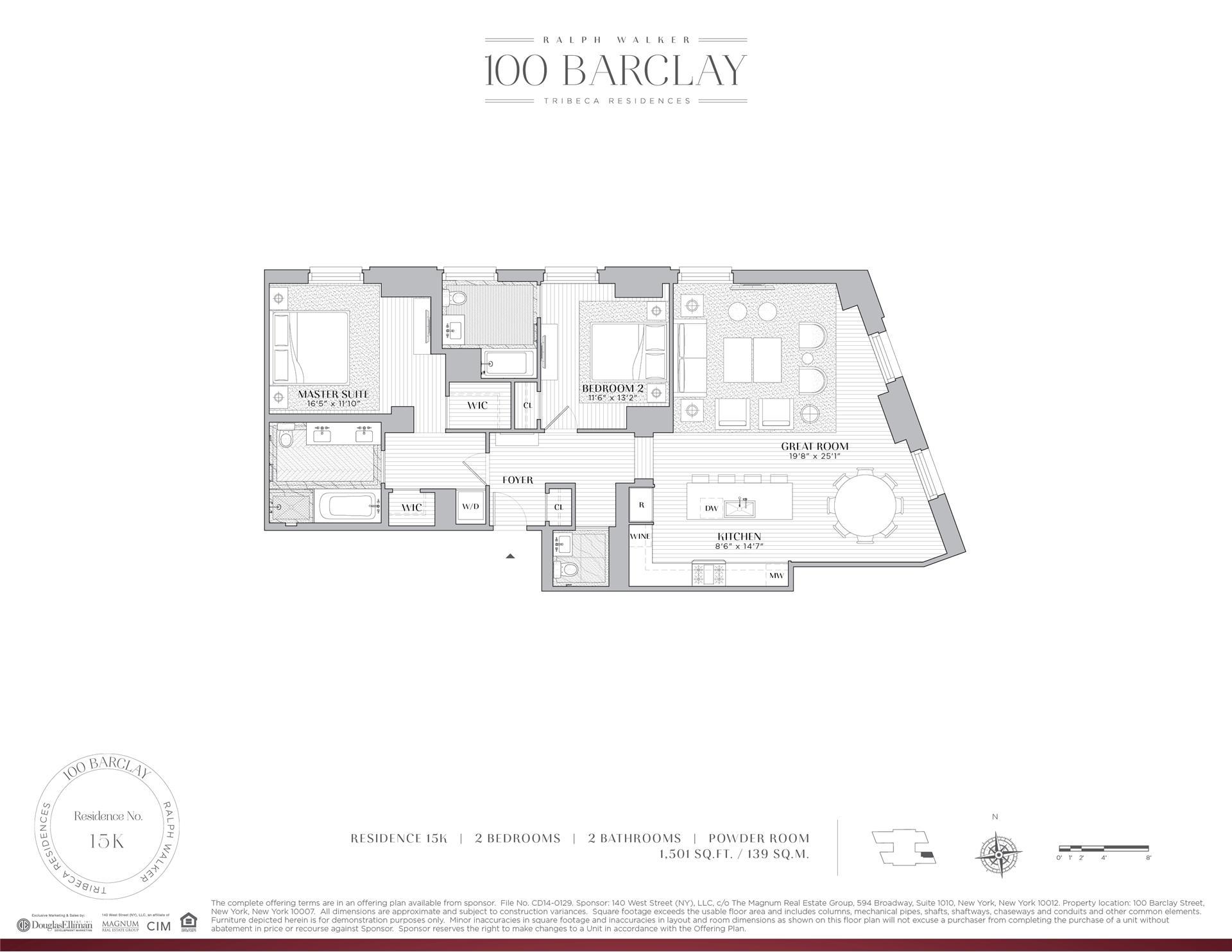 Floor plan of Ralph Walker Tribeca, 100 Barclay St, 15K - TriBeCa, New York