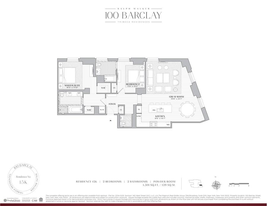 Floor plan of Ralph Walker Tribeca, 100 Barclay St, 15K - TriBeCa, New York