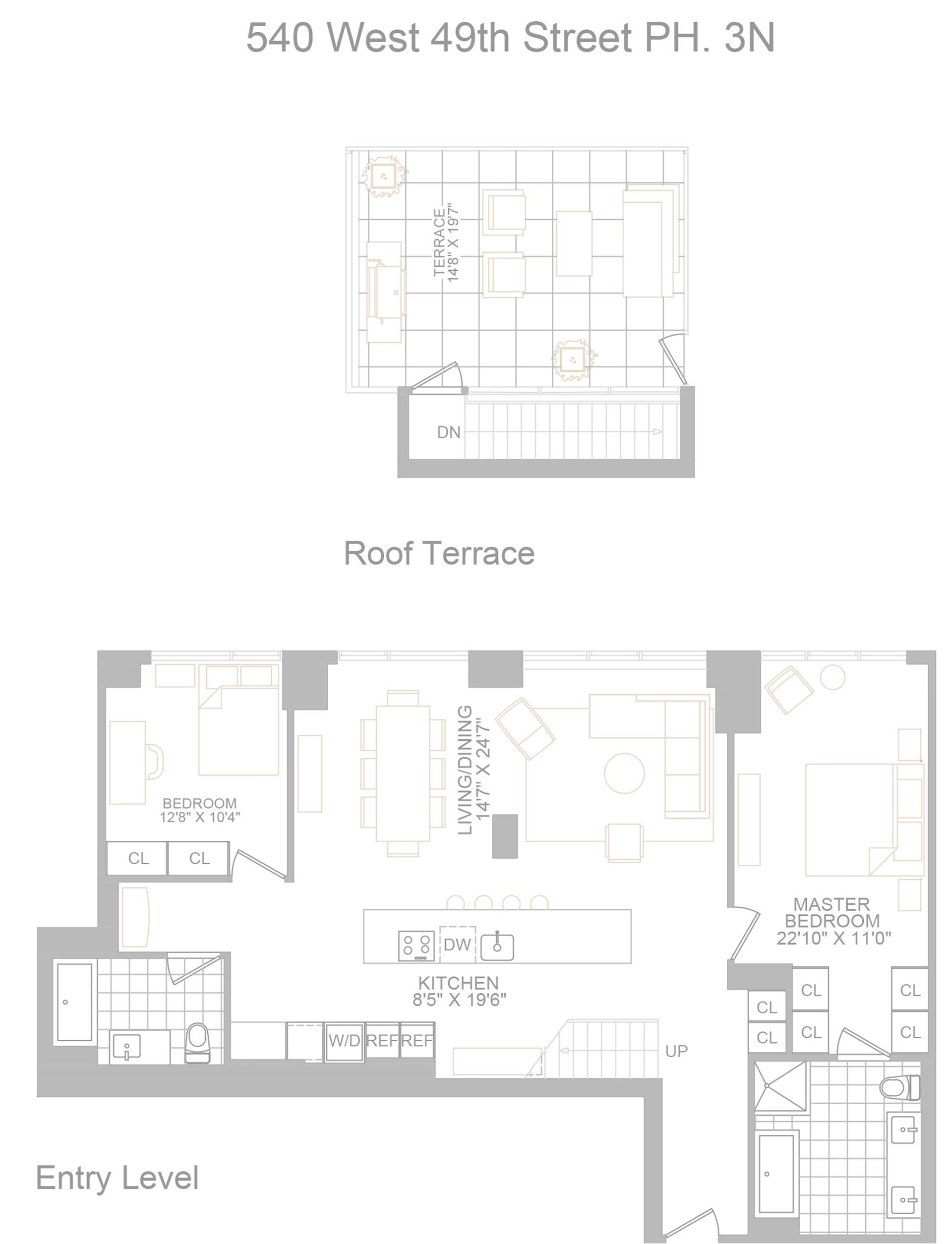 Floor plan of 540 West, 540 West 49th St, PH3N - Midtown, New York
