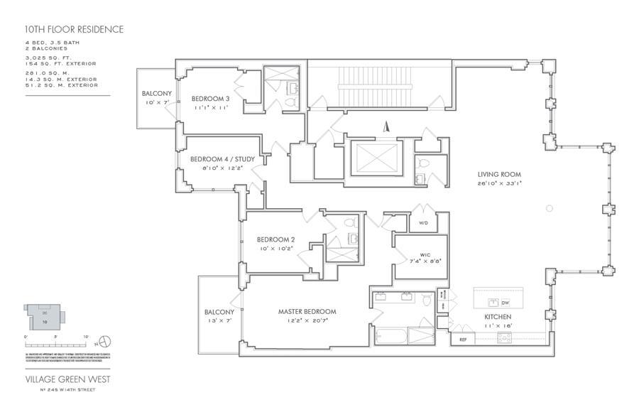 Floor plan of Village Green West, 245 West 14th Street, 10THFLOOR - Chelsea, New York