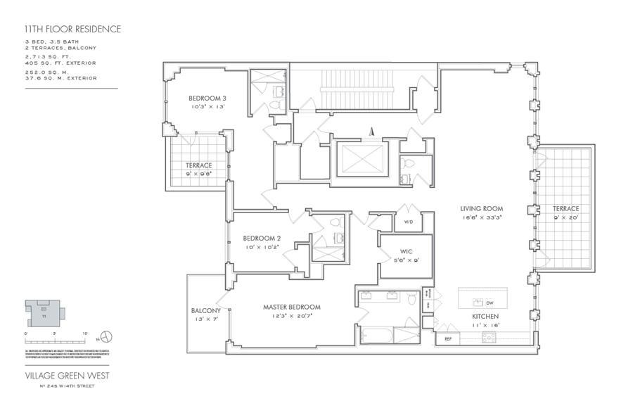 Floor plan of Village Green West, 245 West 14th Street, 11THFLOOR - Chelsea, New York