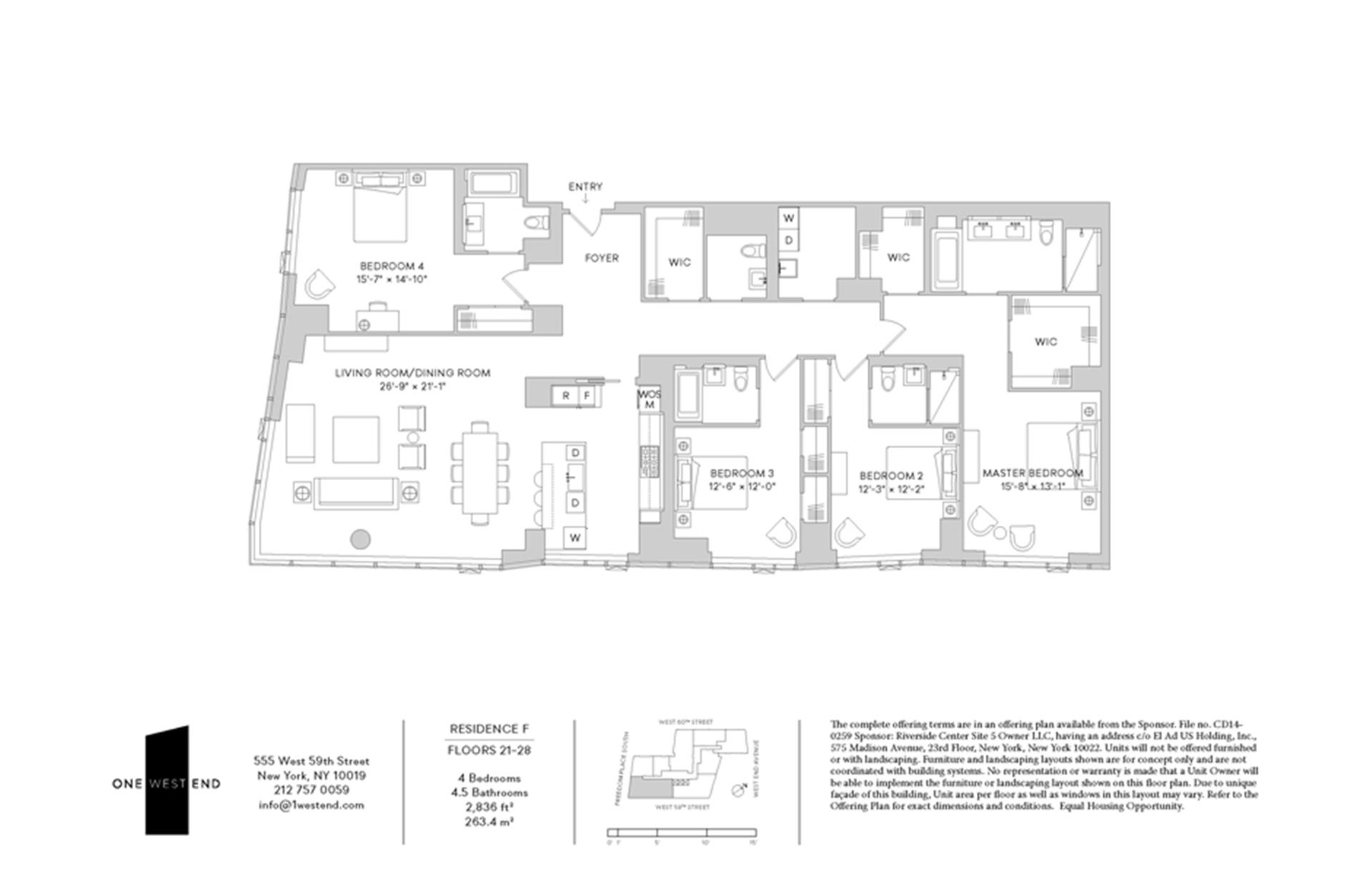 Floor plan of One West End, 1 West End Avenue, 23F - Upper West Side, New York