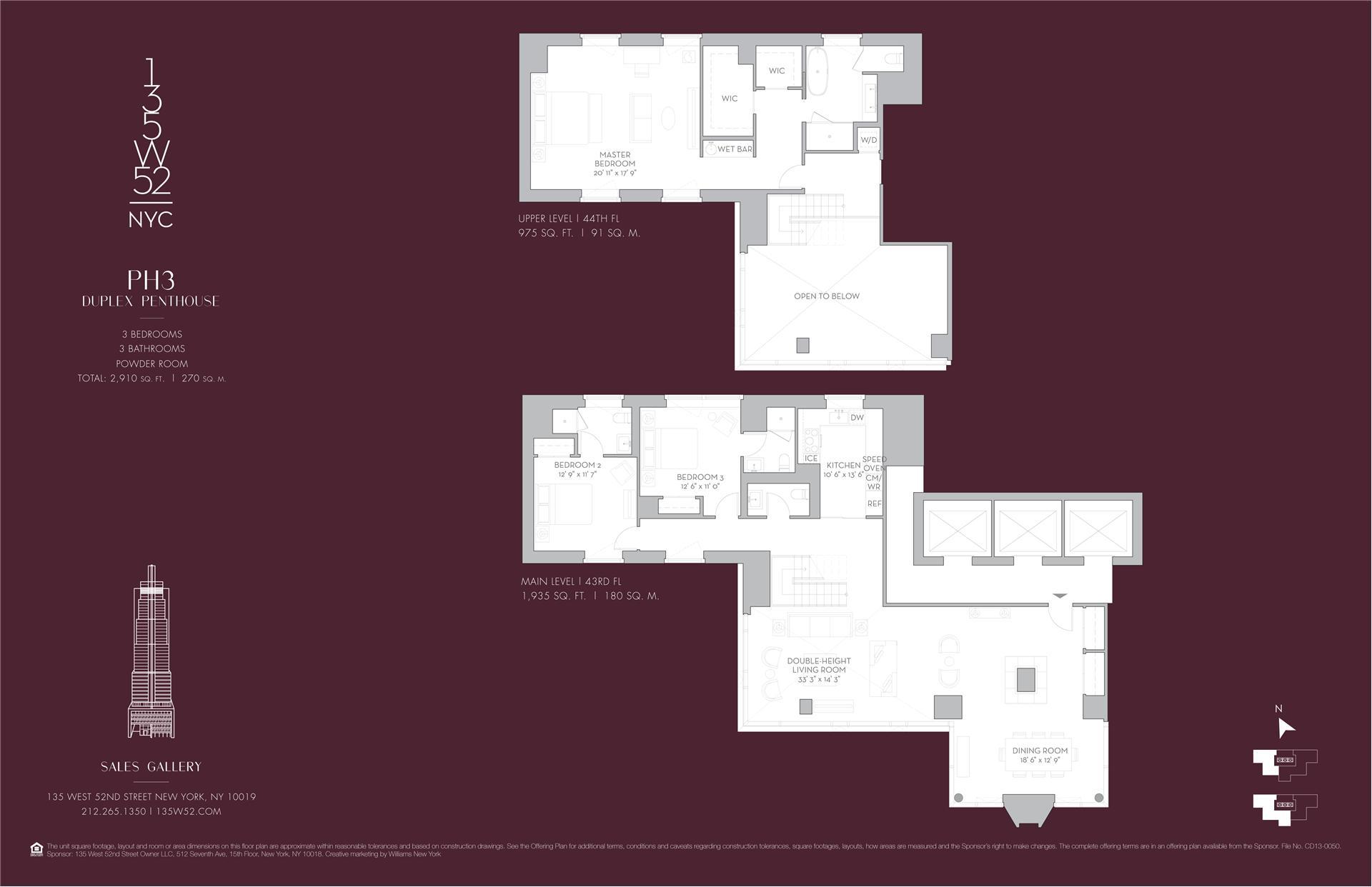 Floor plan of 135 West 52nd St, PH3 - Midtown, New York