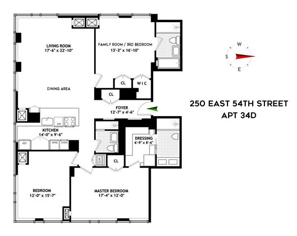 Floor plan of The Mondrian, 250 East 54th St, 34D - Midtown, New York