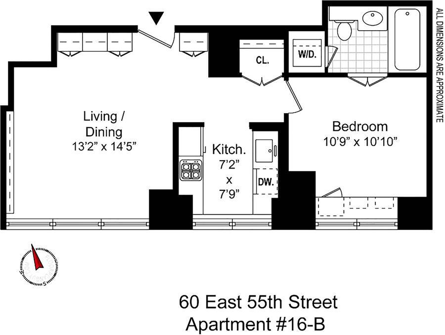 Floor plan of 60 East 55th Street, 16B - Midtown, New York