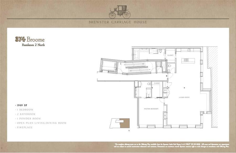 Floor plan of 374 Broome Street, 2B - SoHo - Nolita, New York