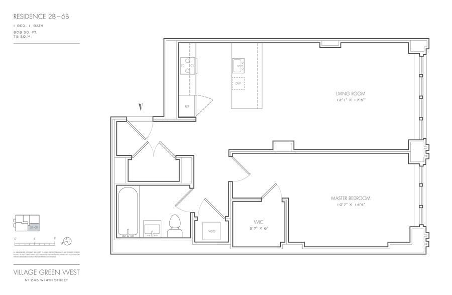 Floor plan of Village Green West, 245 West 14th St, 4B - Chelsea, New York