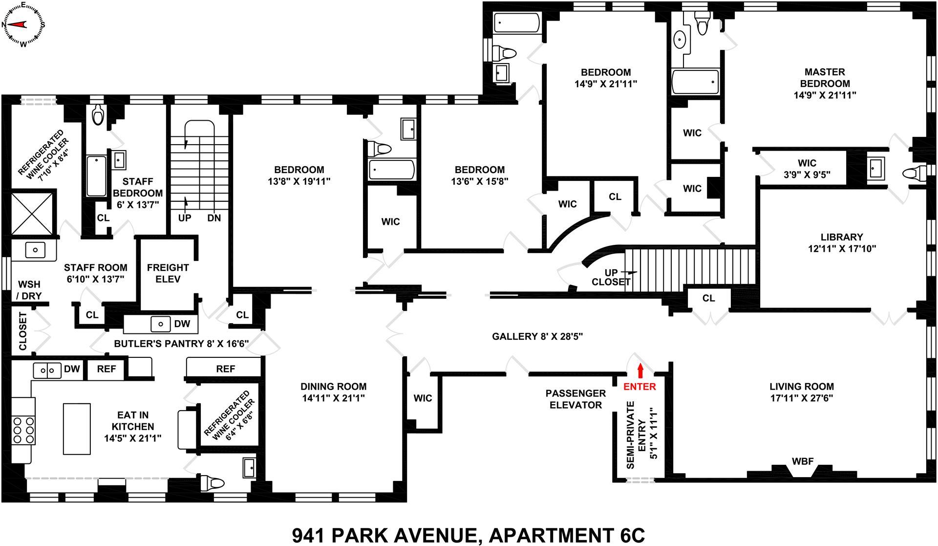 Floor plan of 941 Park Avenue, 6C - Upper East Side, New York