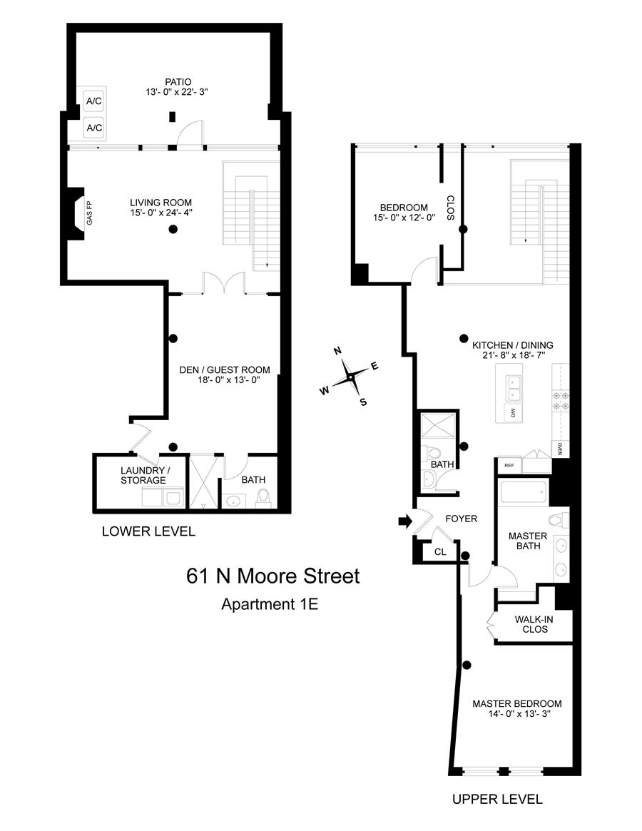 Floor plan of 61 North Moore Street, 1E - TriBeCa, New York