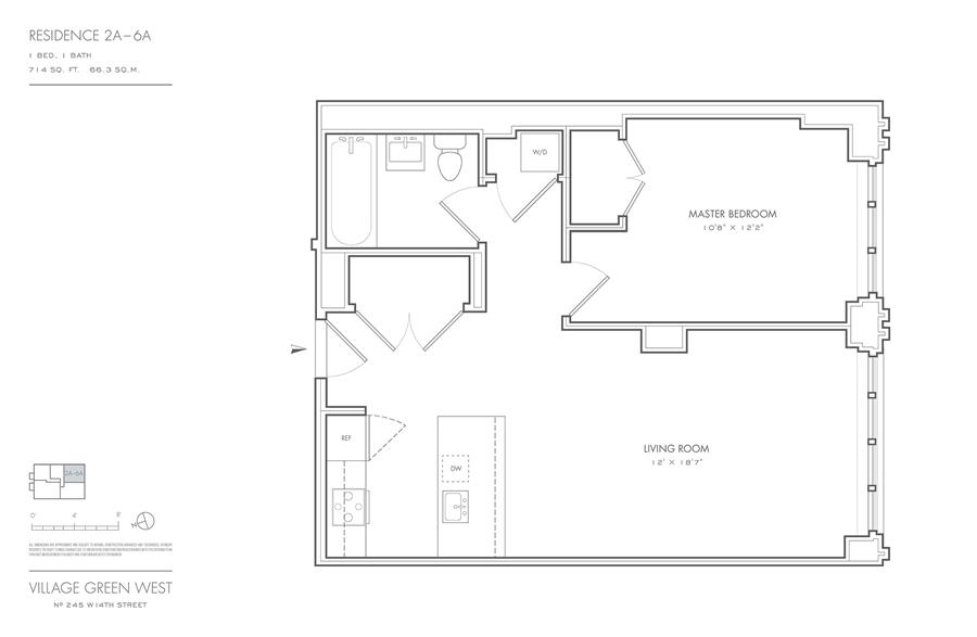 Floor plan of Village Green West, 245 West 14th St, 2A - Chelsea, New York
