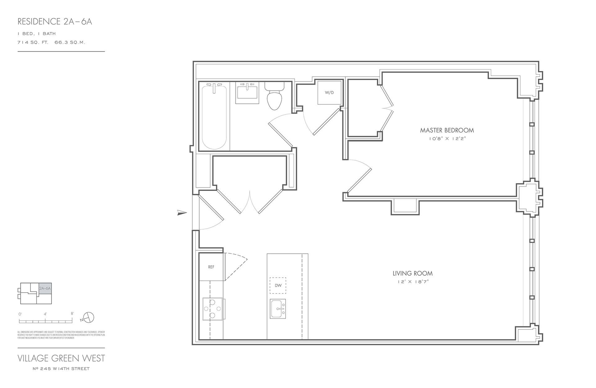 Floor plan of Village Green West, 245 West 14th St, 4A - Chelsea, New York