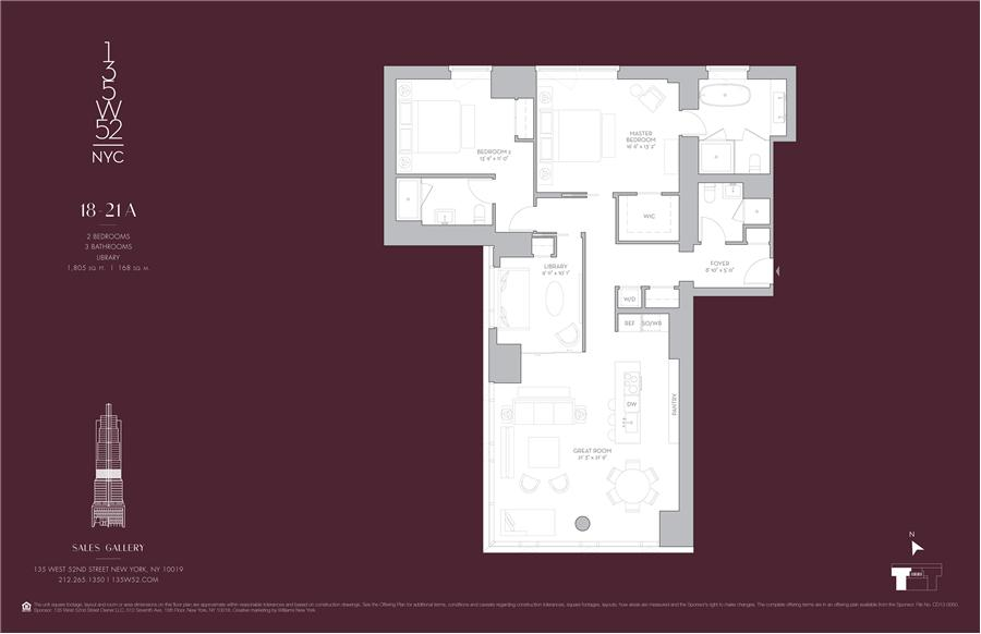 Floor plan of 135 West 52nd St, 19A - Midtown, New York