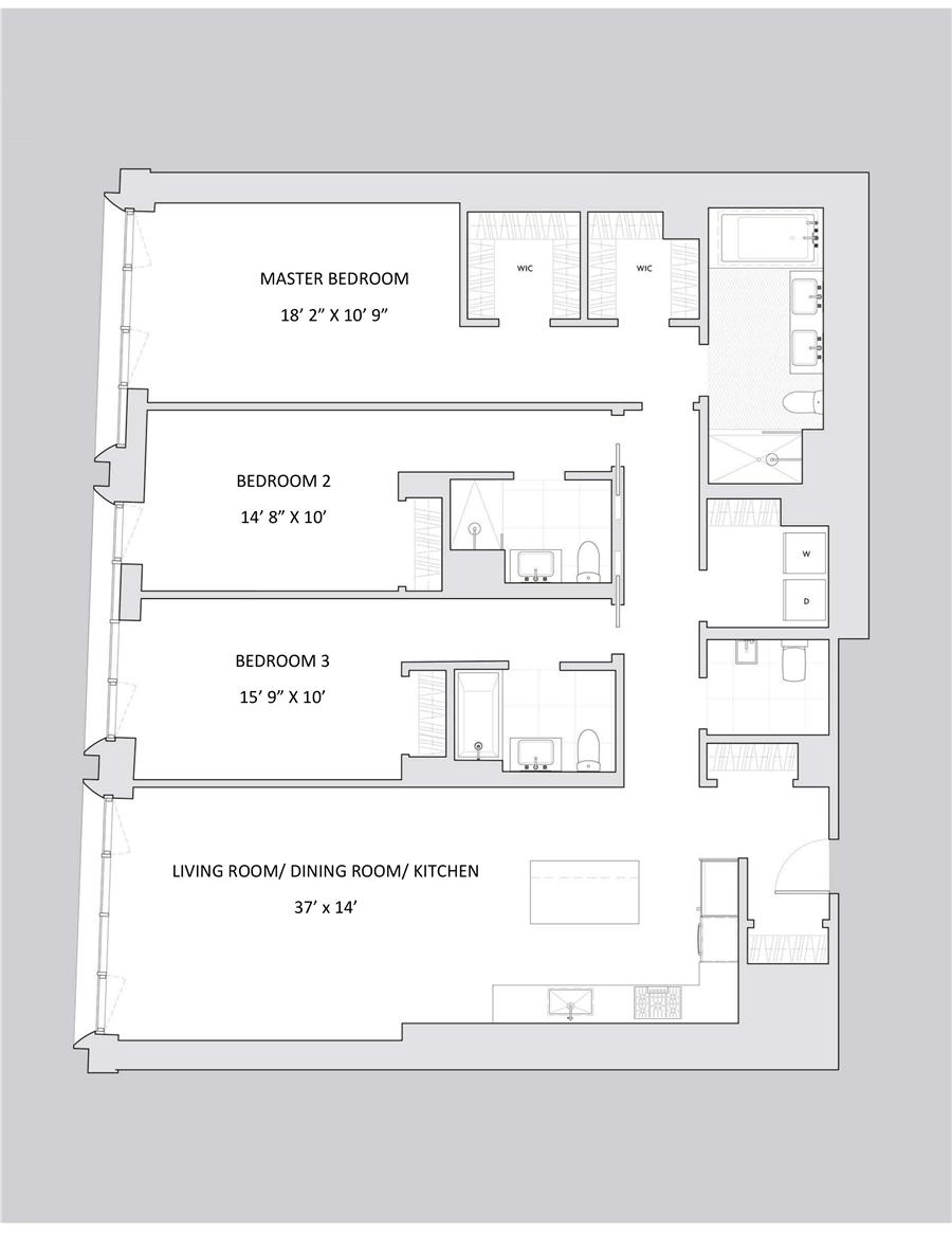 Floor plan of Franklin Place, 5 Franklin Pl, 4A - TriBeCa, New York