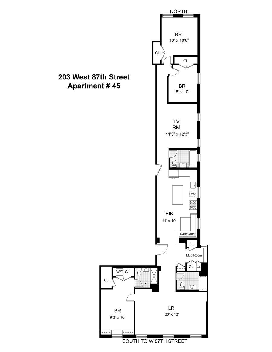 Floor plan of 203 West 87th Street, 45 - Upper West Side, New York