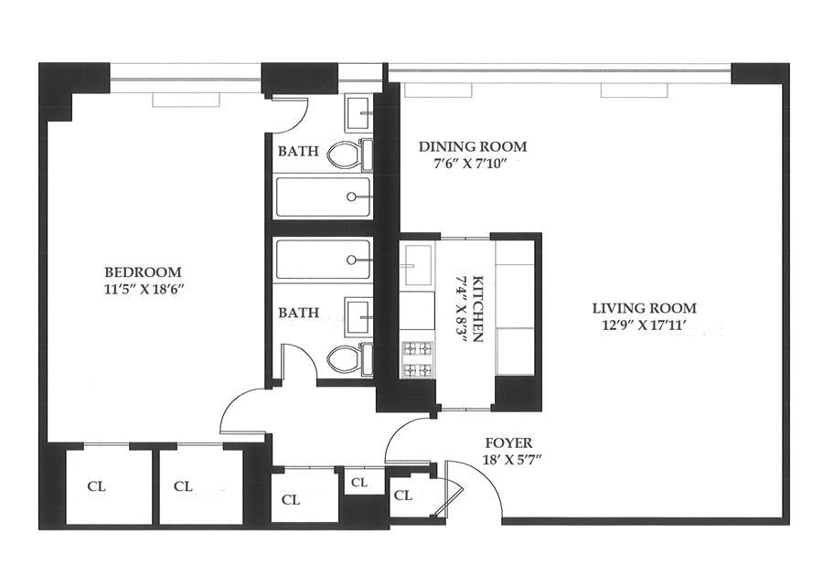 Floor plan of The Park 900 Condominium, 900 Park Avenue, 6D - Upper East Side, New York