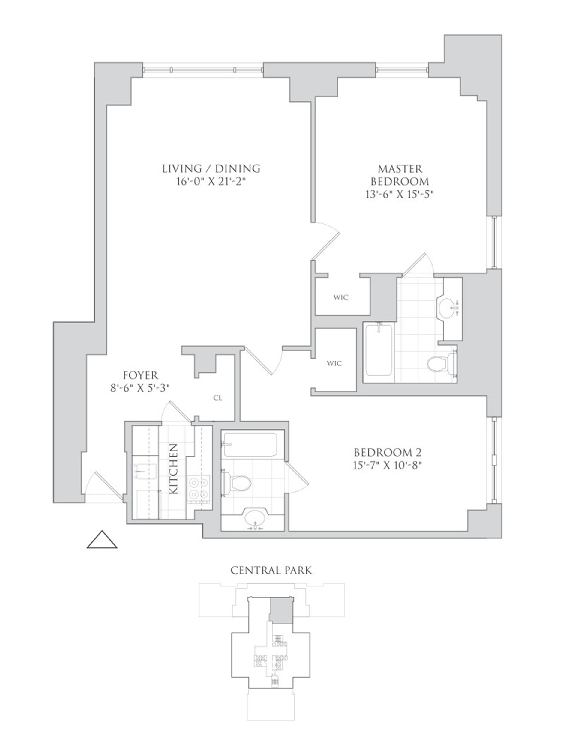 Floor plan of Essex House, 160 Central Park South, 2001 - Central Park South, New York