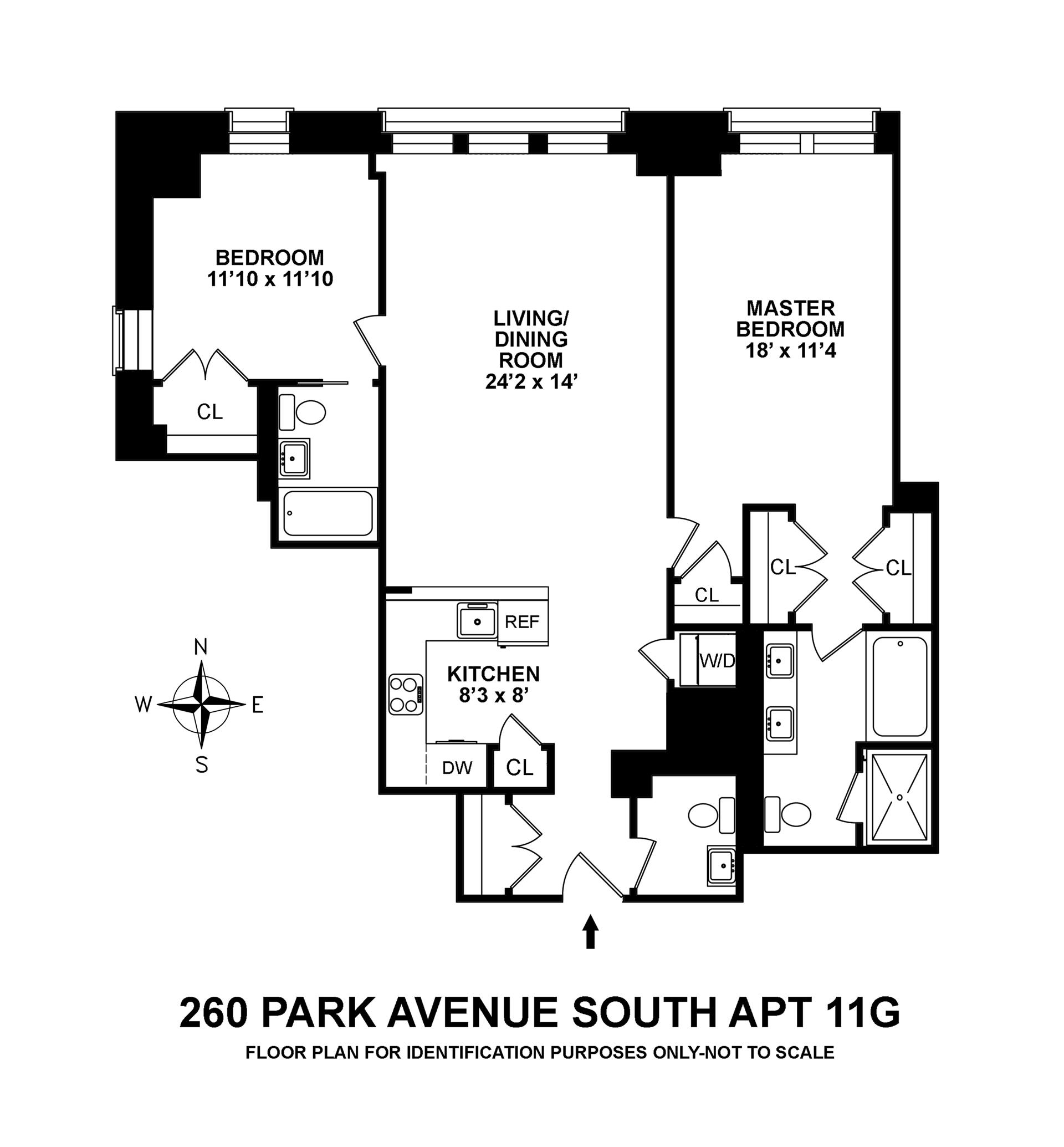 Floor plan of 260 Park Avenue South, 11G - Flatiron District, New York