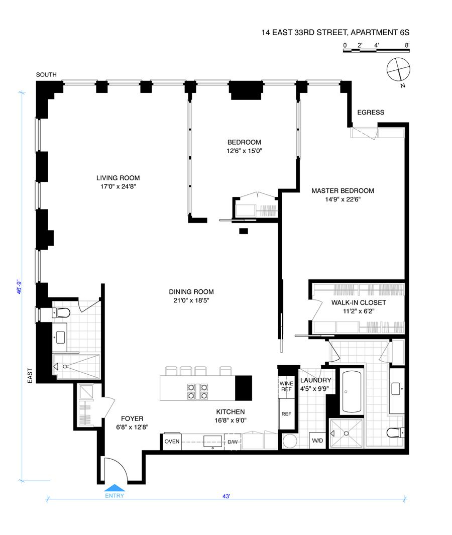 Floor plan of 14 East 33rd Street, 6S - Flatiron District, New York
