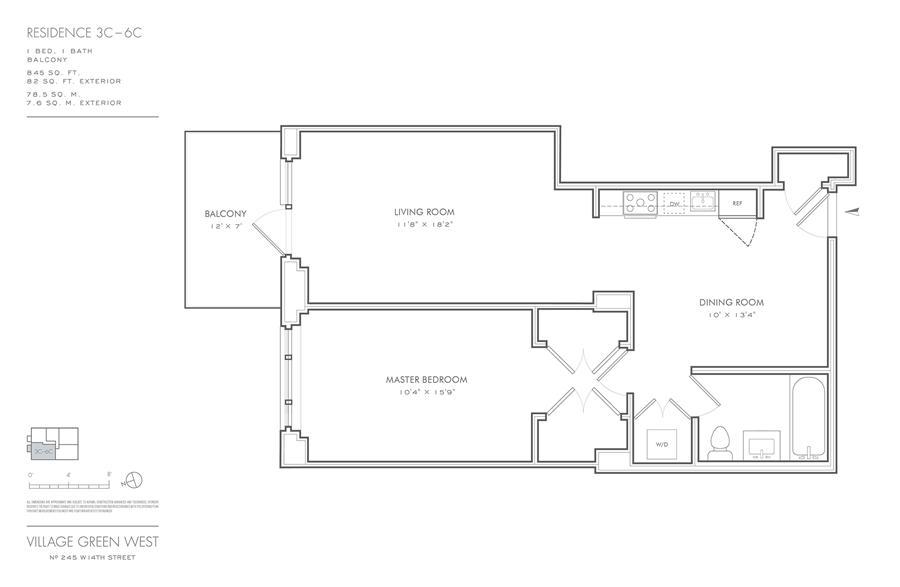 Floor plan of Village Green West, 245 West 14th St, 3C - Chelsea, New York