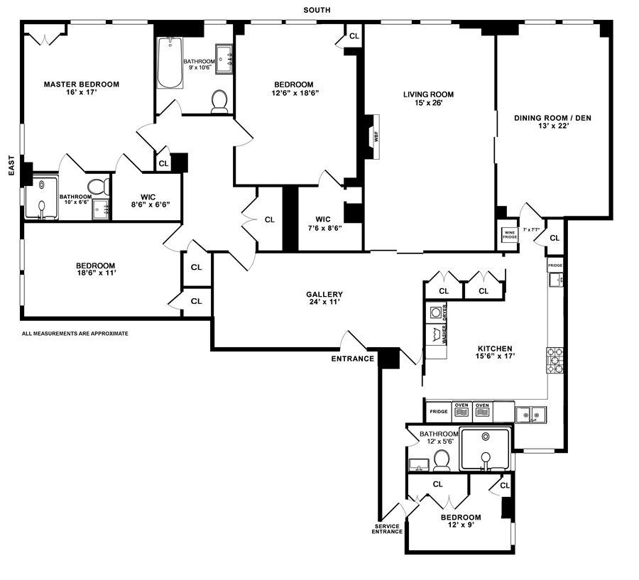 Floor plan of 1165 Park Avenue, 7C - Carnegie Hill, New York