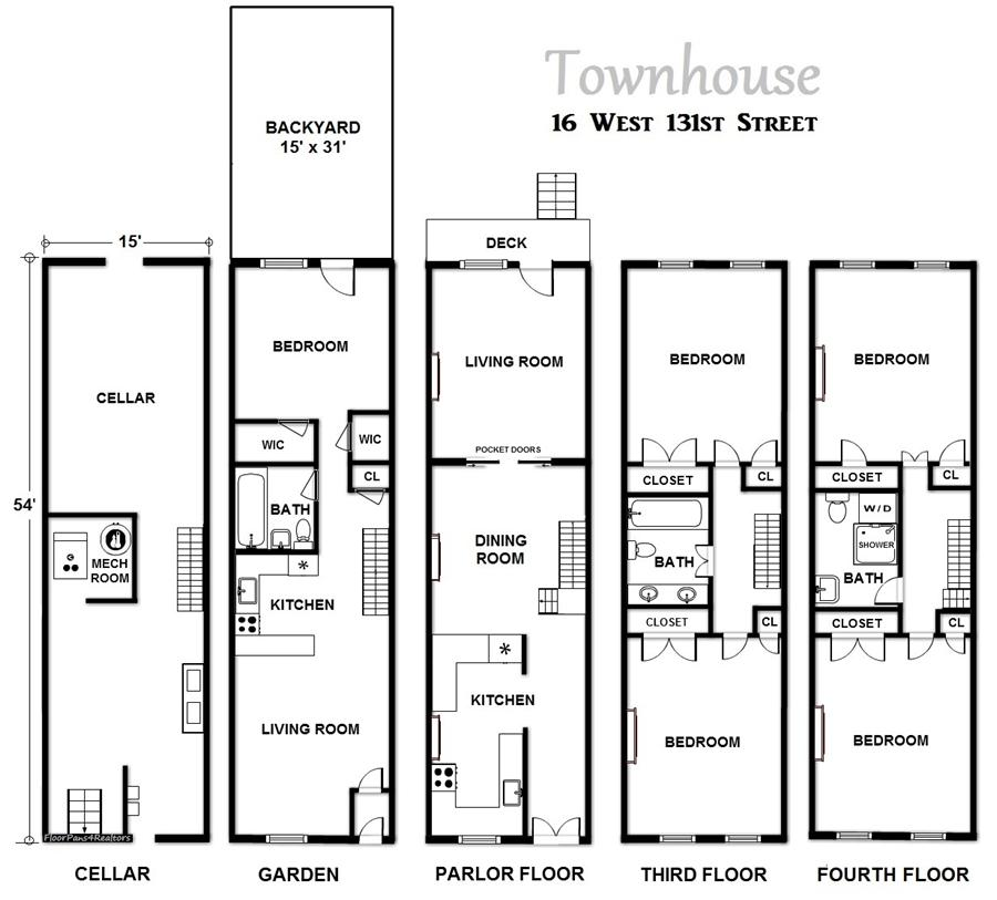 Floor plan of 16 West 131st Street - Harlem, New York