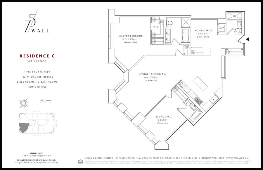 Floor plan of 75 Wall St, 36C - Financial District, New York