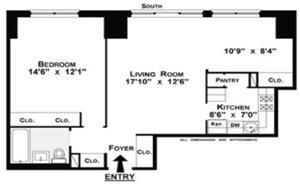 Floor plan of 86 Street Tenants Corp, 345 East 86th Street, 14C - Upper East Side, New York