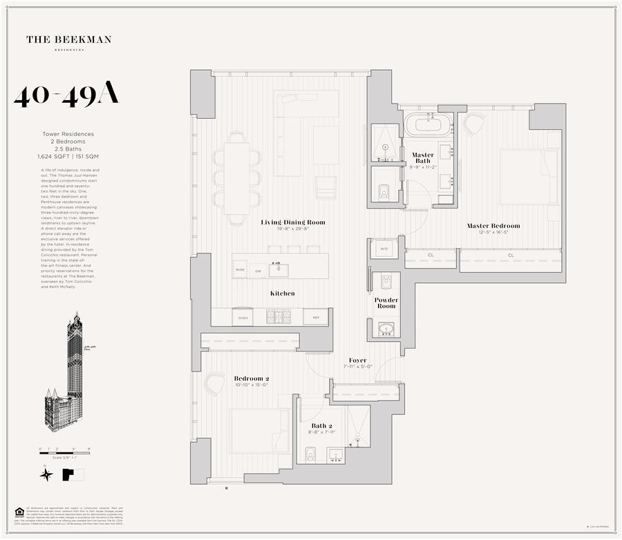 Floor plan of The Beekman Residences, 5 Beekman St, 43A - Financial District, New York