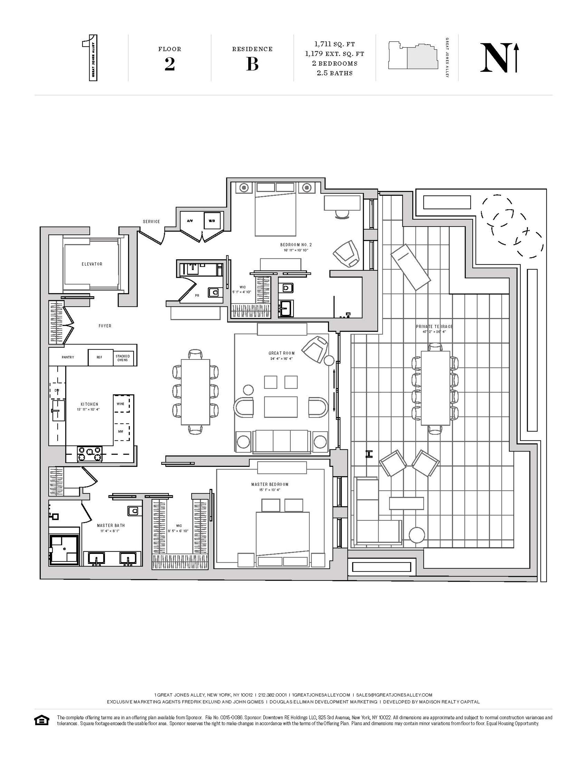 Floor plan of 1 Great Jones Alley, 2B - NoHo, New York