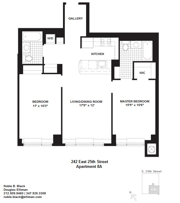 Floor plan of 242 East 25th Street, 8A - Kips Bay, New York