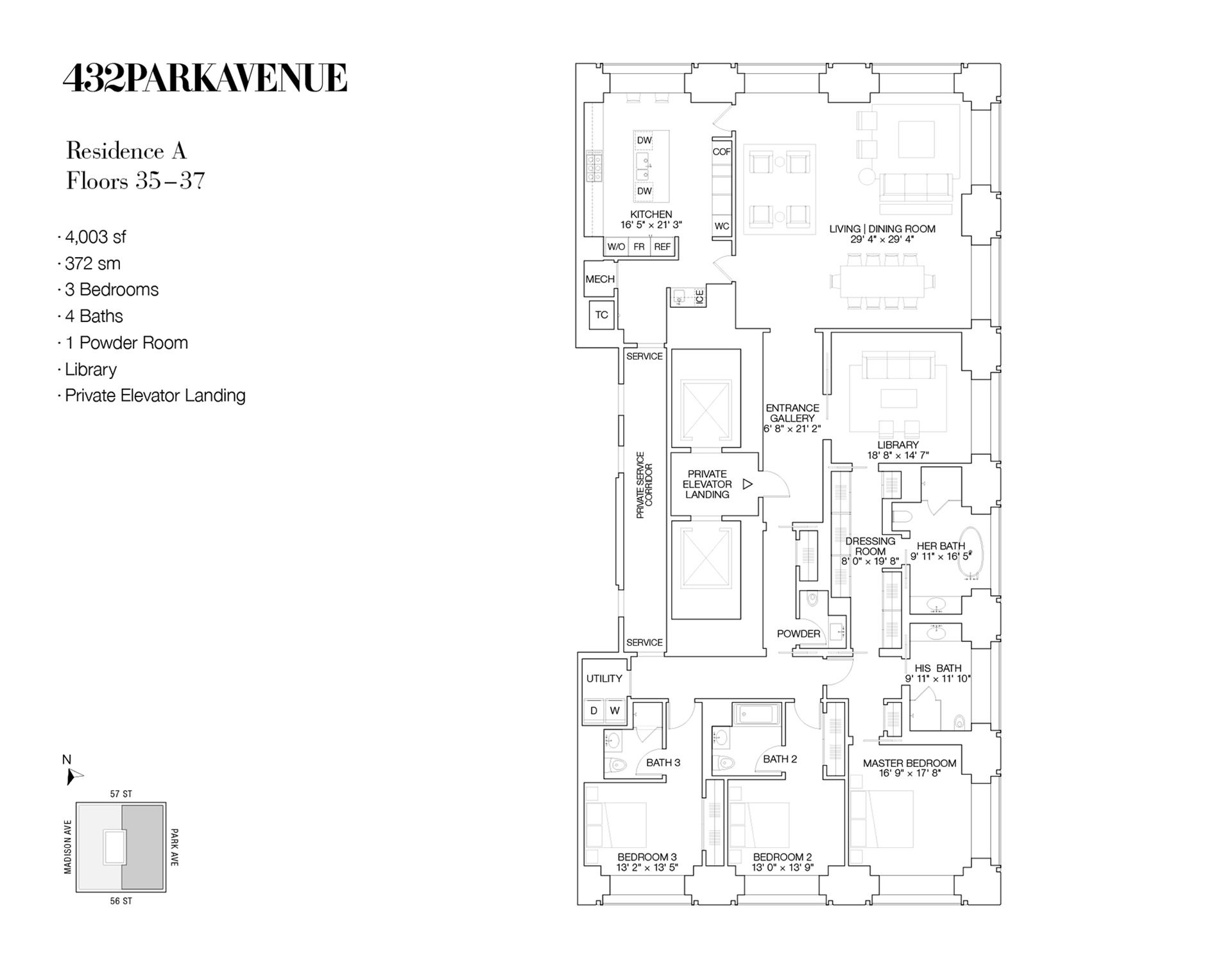 Floor plan of 432 Park Avenue, 36A - Midtown, New York
