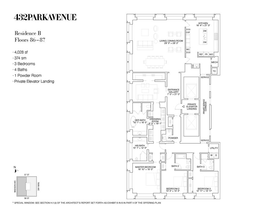 Floor plan of 432 Park Avenue, 87B - Midtown, New York