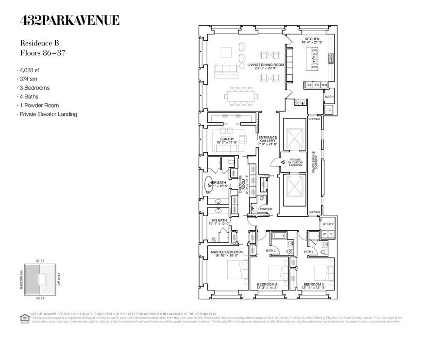 Floor plan of 432 Park Avenue, 87B - Midtown, New York