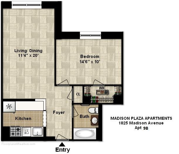 Floor plan of Madison Plaza, 1825 Madison Avenue, 9B - East Harlem, New York
