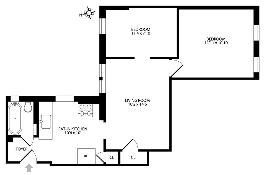 Floor plan of 195 South 4th St, 4C - Williamsburg, New York