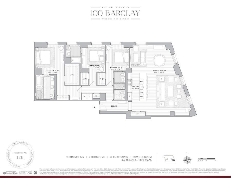 Floor plan of Ralph Walker Tribeca, 100 Barclay Street, 12K - TriBeCa, New York