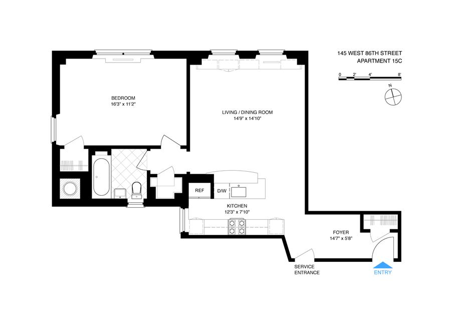 Floor plan of 145 West 86th Street, 15C - Upper West Side, New York