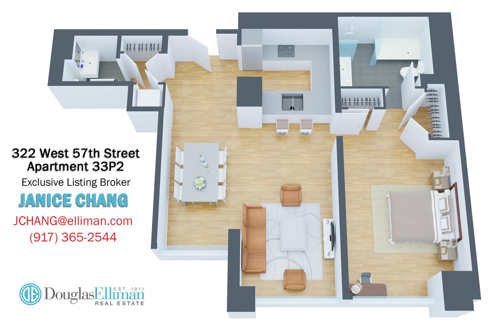 Floor plan of 322 West 57th St, 33P2 - Midtown, New York
