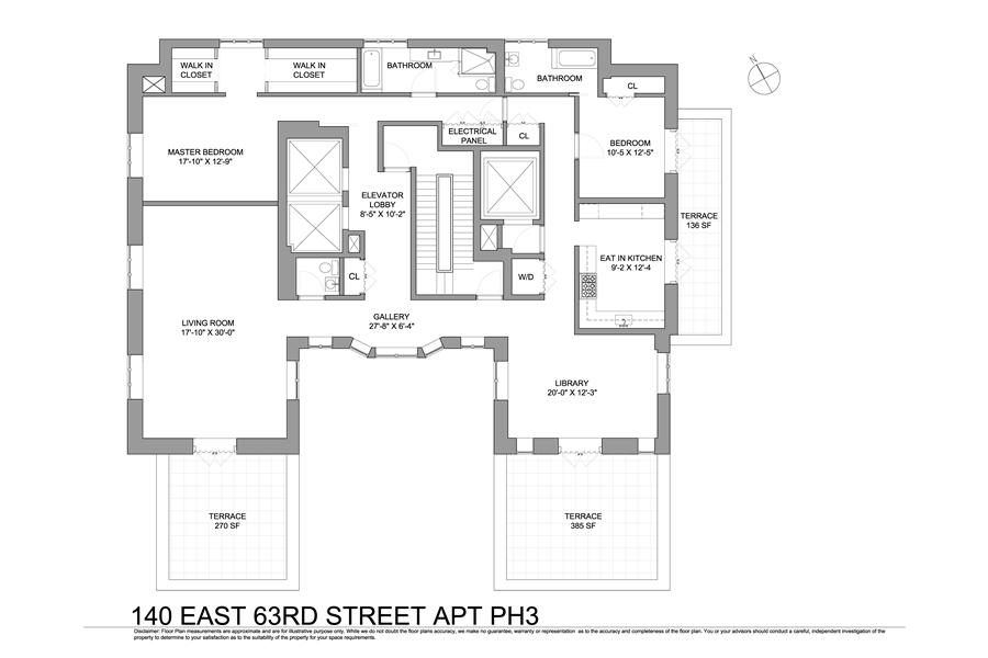 Floor plan of Barbizon/63, 140 East 63rd St, PH3 - Upper East Side, New York