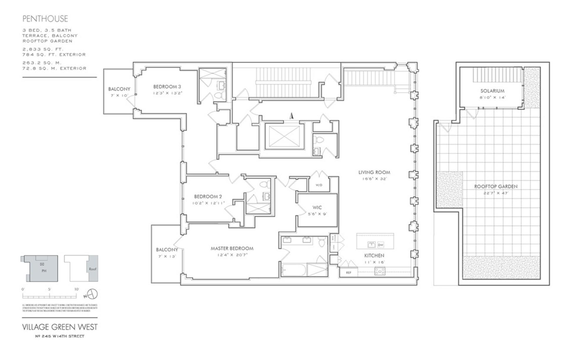 Floor plan of Village Green West, 245 West 14th St, PH - Chelsea, New York